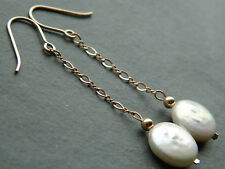 Ivory Coloured Freshwater Coin Pearls & 14ct Rolled Rose Gold Chain Earrings
