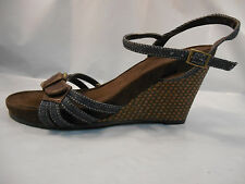 Bass Brown and Blue Denim Wedge Heels Sandals Women's Size 7 M