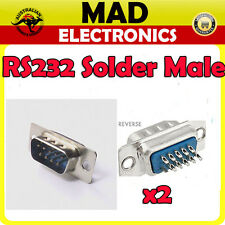 2 x RS232 DB9 Dsub Serial RS-232 Male Solder Type Connector Plug 9pin