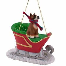 BOXER Cropped Ears Dog SLEIGH Christmas ORNAMENT