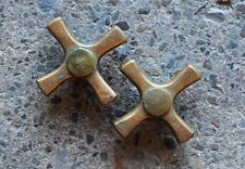 antique brass hot cold bathroom cross knob set circa 1920's