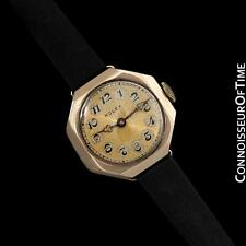 1920's ROLEX Ladies Vintage Art Deco Telephone Dial Watch - 9K Gold