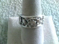 All Sterling Silver Band w/Flowers and Leaves (thumb ring?)