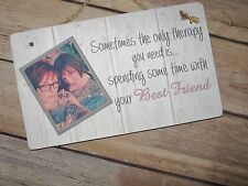 Handmade Personalised Photo Plaque Best Friend Gift Rustic Shabby Chic thank you