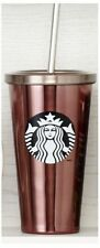 New Starbucks DOT Pink Stainless Grande Tumbler Straw To Go Cold Cup  Black Logo