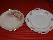 TWO VINTAGE PORCELAIN HANDLED PLATTERS/SERVING TRAYS PINK FLORAL PATTERNS