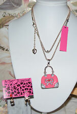 2PC BETSEY JOHNSON PINK CRYSTAL BOW HANDBAG CHAIR & LIPSTICK MISMATCH EARRINGS