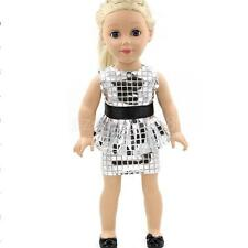 "Silver Sequins Shirt Dress Outfit for 18"" American Girl Journey Doll Clothes"