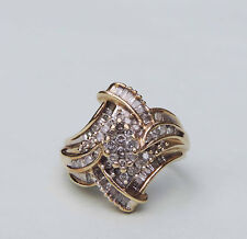 Ladies Diamond Cluster Cocktail Ring With 68 Genuine Diamonds  - 10K Yellow Gold