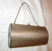 vintage 50's silver tone thick metal woven print barrel shapes evening hand bag
