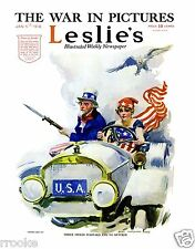 1918 Lady Columbia DRIVES Uncle Sam in Car James Montgomery Flagg Fine Art Print