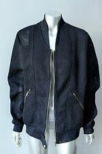 Perforated Bomber Vintage 90s Retro Zip Up Black Sport Jacket Coat Size L