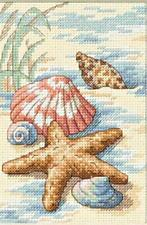 Counted Cross Stitch Kit SHELLS IN THE SAND Mat Included Seashells Dimensions