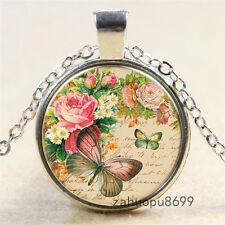 Vintage Butterfly  flowers Cabochon Silver plated Glass Chain Pendant Necklace*