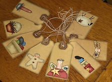 8 PriMitiVe Rustic GingEr CroW AnGeL SheeP HaNg TaGs Gift Ties Favors Ornies