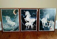 Set of 3 Vintage 80's Unicorn Pictures Art by Ferraro 8x6