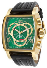 20244  Invicta Men's S1 Rally Chronograph Green Dial Black Leather Strap Watch