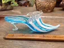VINTAGE MURANO GLASS VENETIAN SHOE BLUE WHITE TWISTED FILIGREE RIBBON LOVELY!