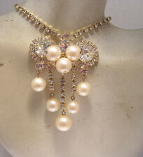 VTG JULIANA D & E GOLD TONE CRYSTAL RHINESTONE PEARL FRINGE NECKLACE PENDANT