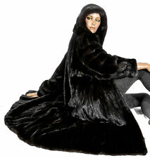 L XL Blackglama Nerzmantel Kapuze Parka hooded mink fur coat Pelzmantel Dunkel