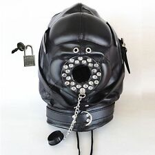 Leather Bondage Full Hood Open Mouth Gag Mask Padded Blindfold Fetish Locking
