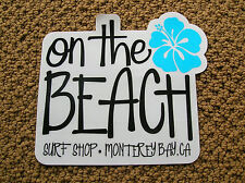 on the beach surf shop ca surfboard surfing sticker decal longboard girl Large