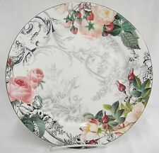 American Atelier Rose Toile #5232 Dinner Plate  Gray Pink Black Beautiful