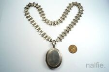 ANTIQUE VICTORIAN PERIOD ENGLISH STERLING SILVER BOOKCHAIN NECKLACE & LOCKET