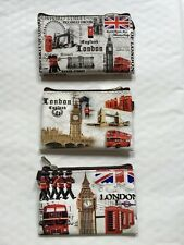 3 X Coin Money Bag Purse London England British UK Souvenir Gift