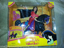 BARBIE DOLL Gift Set MULAN KHAN And MUSHU Disney REAL RIDING HORSE Mattel NEW