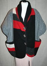 "!!REDUCED!! Plus Size Chunky Style Felt Wool Jacket 64"" Bust Colour Block Top"