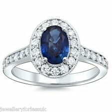 18Carat White Gold Natural Blue Sapphire & Diamond Oval Cluster Ring 0.75 Carats