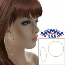 """Extra Large Yellow Gold Tone Wire Clip On Hoop Earrings USA Made 3 1/2"""""""