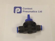 8mm to 6mm Reducing Push Fit shut off valve for air , Vacuum Etc, Non Vent