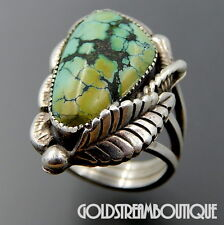VINTAGE RARE RAY JAMES JR. NAVAJO STERLING SILVER GREEN SPIDERWEB TURQUOISE RING