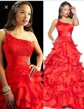 Mac Duggal Pageant dress. Prom dress. Formal gown. Red One Shoulder Size 0