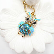 Gold Plated Light Blue Crystal Wing Cute Fat Owl Pendant Necklace Sweater Chain