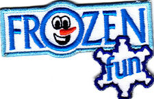 """FROZEN FUN"" -  Iron On Embroidered Applique Patch /Olaf, Snowman, Winter,Games"