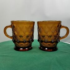 2 Vintage Kimberly Anchor Hocking Coffee Tea Cups Mups AMBER Stacking