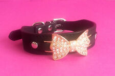 BLACK DOG COLLAR RHINESTONE BOW GEM BLING SMALL CHIHUAHUA PUPPY SMALL BREED
