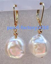 Huge AAA 14-15 mm South Sea White Baroque Pearl Earrings 14K YELLOW GOLD