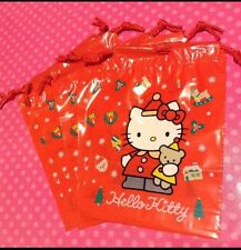 Vintage Sanrio Hello Kitty Santa Holiday 10pc Plastic Drawstring Gift Bags