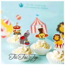 12x Circus Carnival CUPCAKE TOPPER. Party Supplies Clown Carousel Lolly Loot Bag