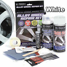 E-TECH Alloy White Wheel Repair Refurbishment Kit Wheel Spray Paint + Lacquer ..