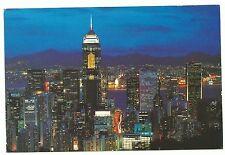 """China Hong Kong postcard """"WANCHAI AT NIGHT"""" to Australia 2000"""