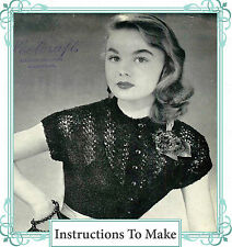 Vintage 1950s knitting pattern-how to make this evening lace cocktail jumper