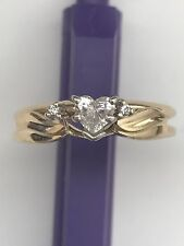 MAGIC GLO 14k Solid Yellow Gold Heart Cut Diamond Engagement Wedding Ring Set
