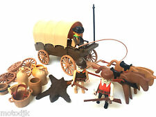 Playmobil figures western wagon & chevaux cowboys frontier colons lot
