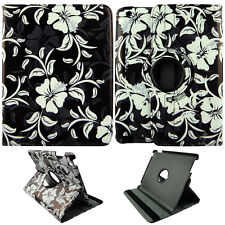 For White Flower on Blk  iPad 2 / 3 / 4   Rotating Folio Leather Case Cover
