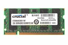 Crucial 2GB DDR2 PC2 6400 800mhz 200pin SODIMM Notebook Laptop Memory RAM PC6400